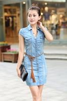 Women's spring 2014 light color short-sleeve denim one-piece dress women's