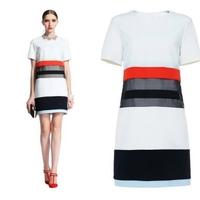 Women's 2014 spring patchwork loose short-sleeve dress