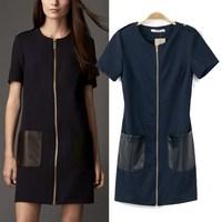 Women's 2014 spring and summer fashion zipper b patchwork PU pocket short-sleeve cardigan one-piece dress