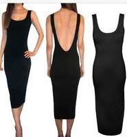 New 2014 Celebrity Dress Black Spring Summer Dress Casual O-Neck Sleeveless Sexy Long Bodycon Dress HL Bandage Dress SJ1082