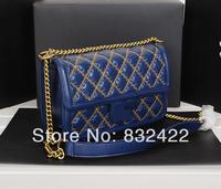 2014 summer new small fragrant sheepskin stitch shoulder diagonal package Ms. Black Blue Rose Red 68236