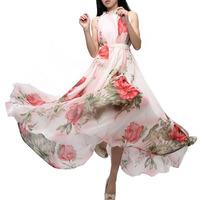 Hot Sale Spring Summer Women's Beach Dress Bohemian Floral Dress Ladies Dresses Casual Pleated Maxi Dress Free Shipping 1pcs/lot