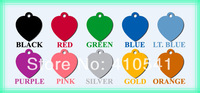 Hot Selling Free Shipping Retail 35*32MM Mix Colors 10pcs/lot  Heart Shape Pet Tags Aluminum Dog ID Tag Products For Animal