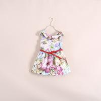 2014  Summer new  fashion girl flower dress  with belt