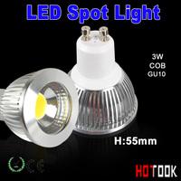 GU10 LED spotlight 3w COB SMD LED Spot Light 55mm High Ultra bright Lamp Bulb 85~265V Lighting indoor CE ROHS Warranty 2 years
