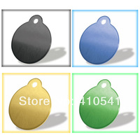 Hot selling Free Shipping Retail Pet Products 30*30MM Mix Colors 60pcs/lot  Round Shape Pet Tags Aluminum Puppy Dog Cat ID Tags