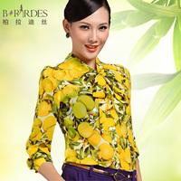 Free Shipping 2014 Summer Fashion Elegant Long Sleeve Blouses Women Chiffon Shirts Brand Designer S-XXL Yellow T5041