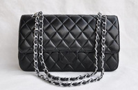 Big brand high quality plaid chain bags fashion women's shoulder bag black or white + free shipping