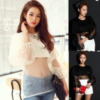 2014 new fashion women sexy white black see through blourse shirts top ladies summer long sleeve chiffon blouse shirt tops