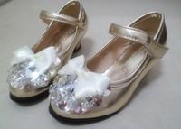 2014 girl child rhinestone children shoes small high-heeled elegant leather flower children shoes formal dress shoes dance