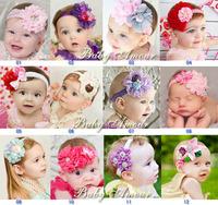 NEW 2014 girls headwear flowers with peal and Rhinestone baby elastic headband kids accessories 12 designs