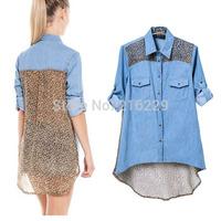Spring Summer Fashion  Europe Leopard Denim Patchwork  Lady  Blouse Casual Design Long Sleeve Women Shirt S M L WCS12500CN