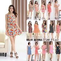 15Style 2014 Hot Sale Summer Beach Dress For Women Flower Print One-piece Party Dress Slim Hip Sleeveless Mini Dress