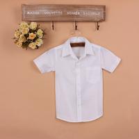 Child 100% cotton shirt male child short-sleeve spring and autumn child shirt white shirt