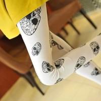 2014 summer skull print white female thin legging