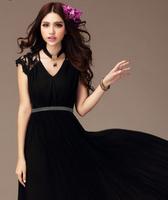 Free shipping  Ladies   Chiffon Lace Long  Party Vintage Maxi Dress