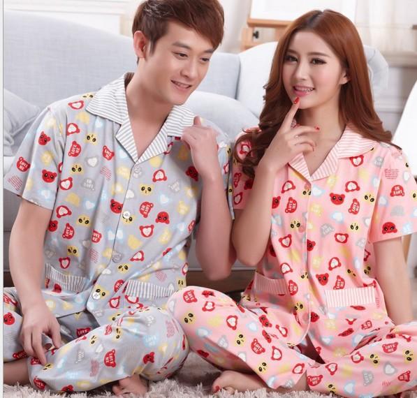 Sweet summer short-sleeve lovers sleepwear 100% cotton short sleeve length pants turn-down collar lounge set at home service(China (Mainland))