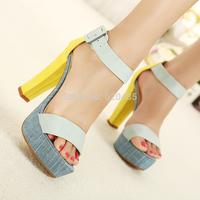 Free shipping  2014 summer button belt sandals shoes platform thick heel platform women's shoes open toe high-heeled shoes