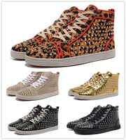 new 2014 Luxury France Red Bottom Fashion sneakers for women LOUIS SPIKES WOMEN'S FLAT real leather fashion causal TRAINERS