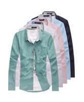 2014 Unique Leisure Shirt Collarband Fashion Long-Sleeved Shirt Collar Shirt Free Shipping