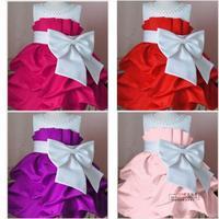 Retail 1Pcs 2014 Children Dress girls Princess Dress Chiffon Big Bowknot Party Tutu Dresse for Summer