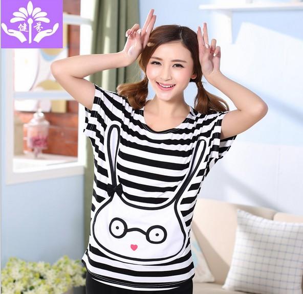 2014 summer stripe comfortable 100% cotton young girl lounge cartoon princess short-sleeve female sleepwear(China (Mainland))