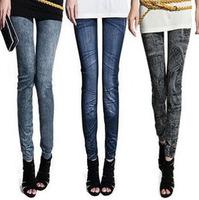 2014 spring faux denim legging plus size women's spring and autumn thin skinny pants