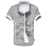 2014 Men New Arrial Spring Summer Fashion Slim Hot men's Shirts Short Sleeve Casual Shirts  5 color M-XXXXL best sell