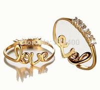 Romantic LOVE Ring Metal with Zircon Stone Gold Tone Fashion Jewelry R-18015