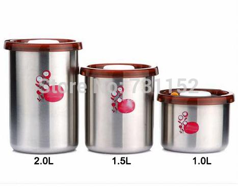Cozinha de ware1.0 / 1.5 / 2.0L vácuo de aço inoxidável de sílica manter fresco canister set 3 pçs/set(China (Mainland))