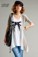 2014 hot sale pregnant T-shirts fashion print bow irregular hem  blouse free size loose soft dark grey free shipping