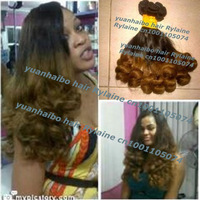 Ombre aunty funmi hair Best quality 6a 3pcs/lot two tone colored peruvian virgin bouncy tip curl funmi hair weave free shipping