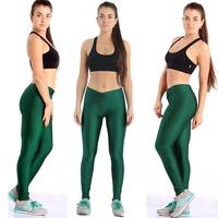 2014 High Waist Candy ColoursNeon pants Women's Sports Pant Elastic Strtched Yoga Fitness Gym Pants Shiny 2pcs/lot