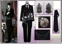 New Free Shipping Anime Black Butler 2 Kuroshitsuji Sebastian Cosplay Costume Coat Jacket Anime Products
