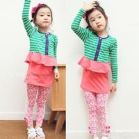 new baby girl clothes sets False 3-pcs summer t-shirts for girls Stripe dress flower pants for girls leggings baby clothing