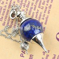 1Pc Lapis Lazuli Jasper Gem Ball Healing Dowsing Reiki Chakra Charm Pendulum Chain