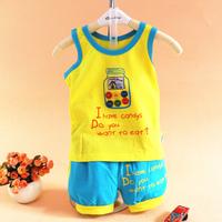Candy color child sports set male wide shoulder clothes 1 - 2 - 3 all-match vest shorts open file