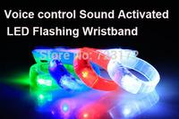 20pcs/lot Voice Control Sound Activated Sensor LED Flashing Bracelet Glowing Shining Bracelets Bangle WristBand Wrist Strap