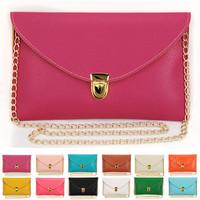 Sale New 2014 Spring Summer Candy Color Envelop Clutch Chain messenger Shoulder Documents bag Wholesale Free Shipping