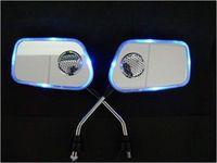 FM Radio Motorcycle Bike Back Rearview Rear Mirror MP3 Audio Speaker Blue light