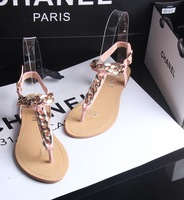 2014 summer fashion metal decoration chain flip-flop flat heel sandals toe-covering hasp all-match women's flat shoes