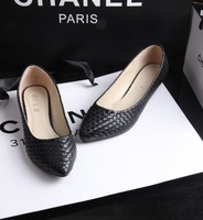 Fashion all-match 14 brief ol comfortable serpentine pattern pointed toe small wedges single shoes 35 - - 41