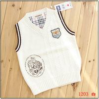 free shipping 2014 spring and autumn child cotton vest children's clothing yarn vest male child fashion preppy style vest