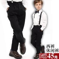 Child western-style trousers male child slim fashion 100% cotton casual suit pants autumn black trousers performance wear