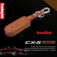 Black/Brown Quality Genuine Leather Car Remote Key Fob Case Holder Cover For Mazda CX-5 CX5 2012-present Free Shipping
