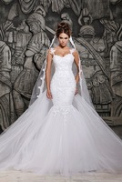 2014 Designers White Lace And See Through Mermaid Wedding Dresses With Removable Train Bridal Dress
