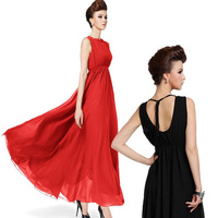 Free Shipping 2014 New Summer Women Western Sexy Style Solid Color Halter Neck Sleeveless Lace Up Chiffon Bohemian Dress