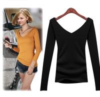 Spring 2014 plus size clothing top tight t t shirt cotton long-sleeve V-neck T-shirt female basic shirt