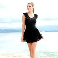*Black lace women's one piece swimwear dress adult swimwear spa