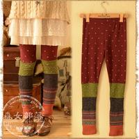 2014 spring pants colorant match thin legging trousers  mori girl